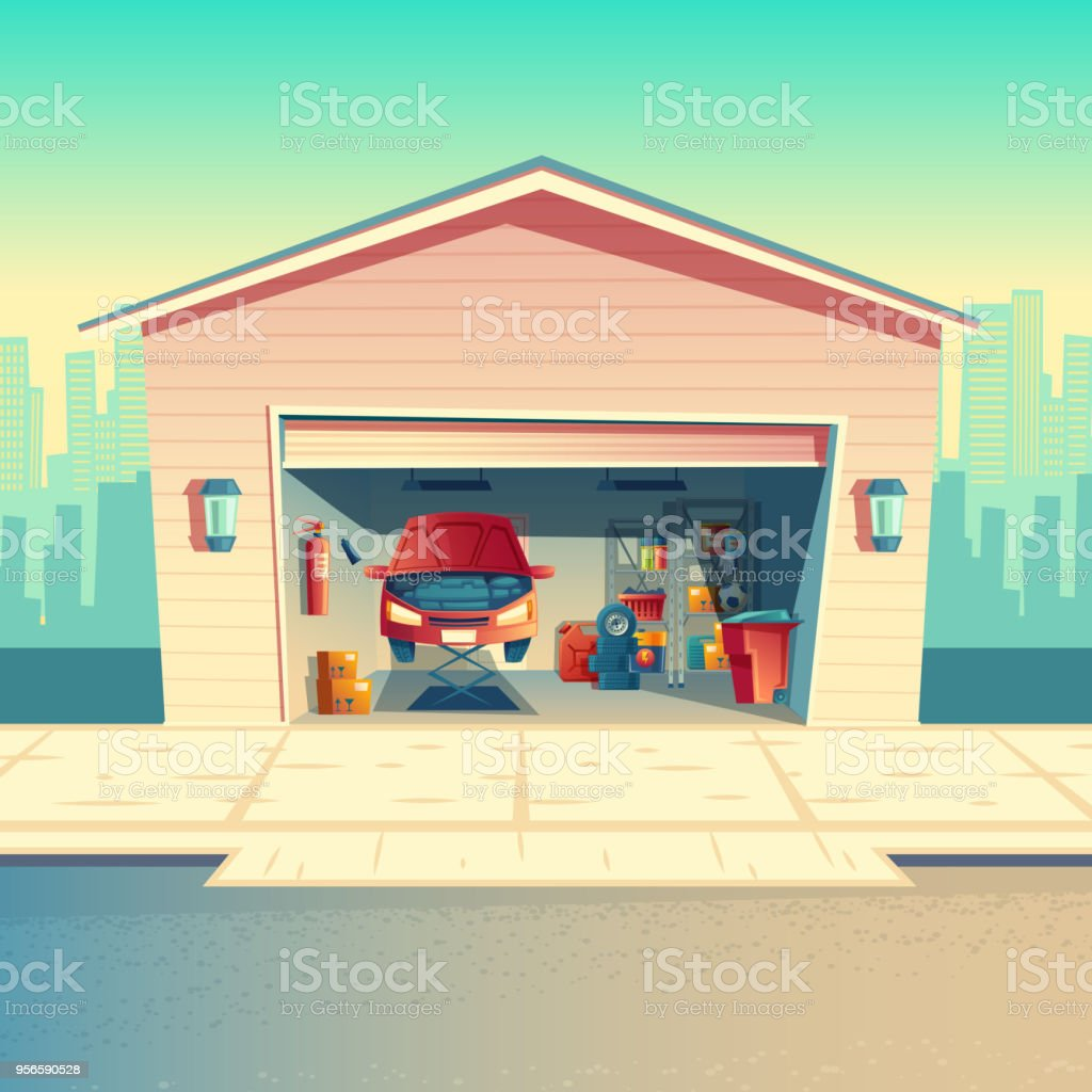 Garage Auto 95 Vector Cartoon Mechanic Workshop With Car Garage Stock Vector Art