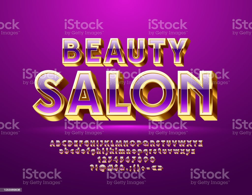 Salon Chic Vector Chic Violet And Golden Sign Beauty Salon With Alphabet