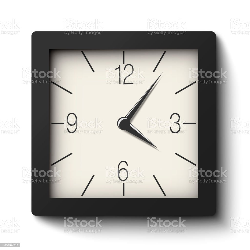 Weiße Wanduhr Vector Classic Black And White Square Wall Clock Isolated On White