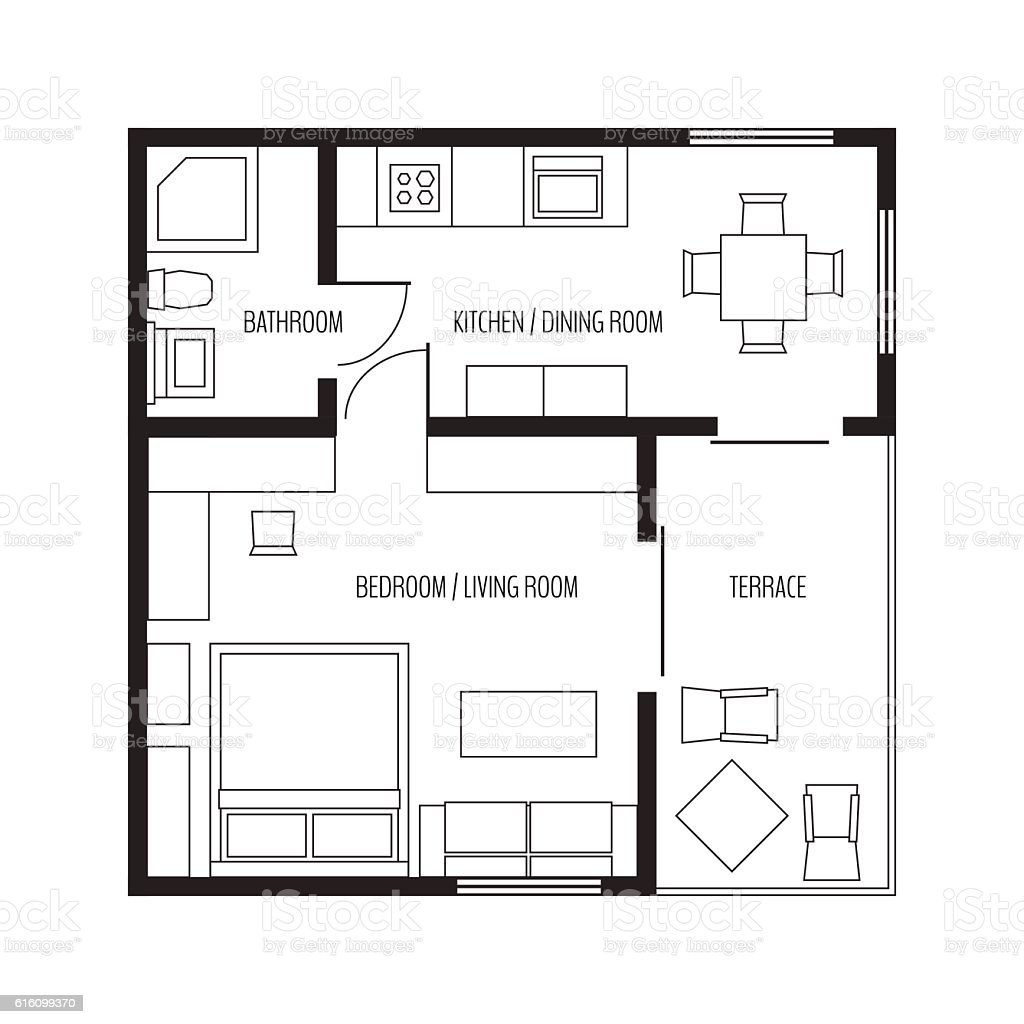 Flat Plan Vector Flat Projection Apartmentsmall House Plan With Furniture