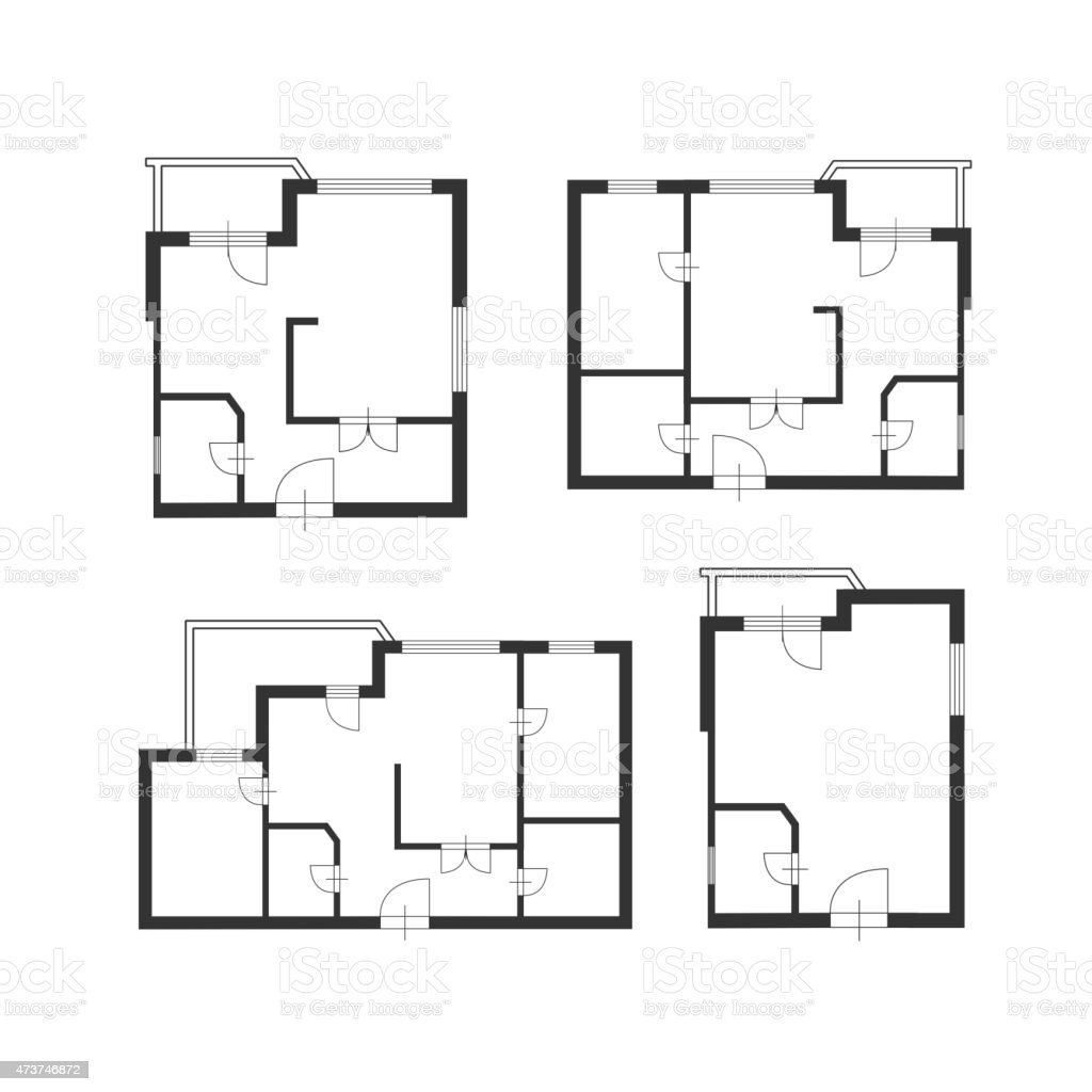 Flat Plan Vektormöbel Architekt Plan Building Das Flatdesign Stock Vektor