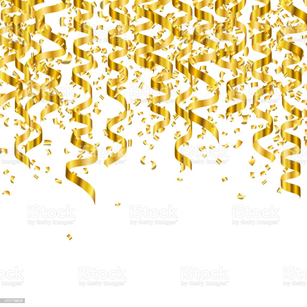 Falling Glitter Confetti Wallpapers Vector Golden Party Streamers And Confetti Stock Vector