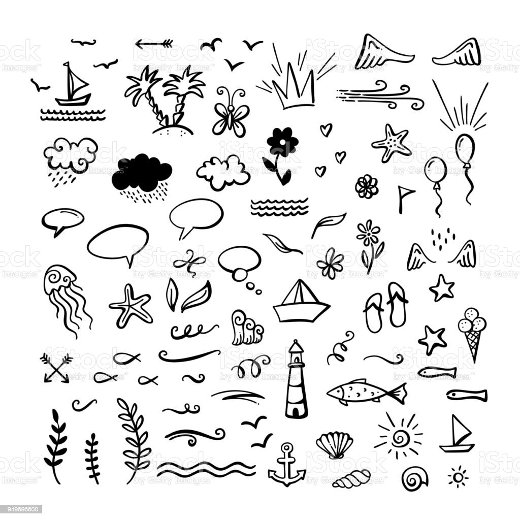 Clipart Sommer Schwarz Weiß Doodle Elements Are Perfect For Invitation Poster Mug Bag Card Or