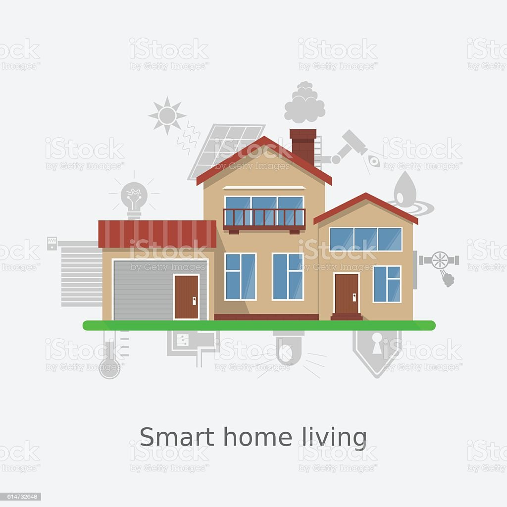 Smart Home Schloss Vector Illustration Concept Of Smart Home Technology System Stock