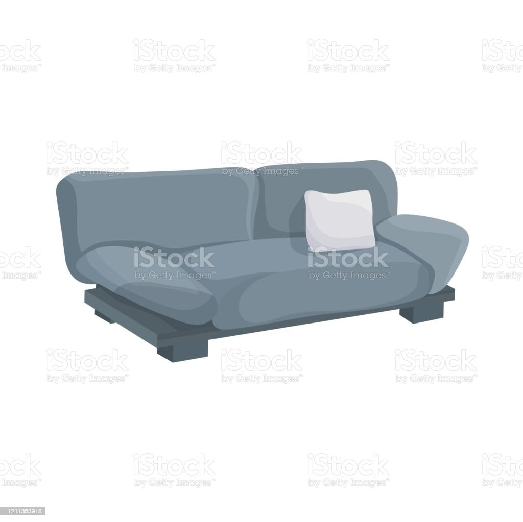 Vector Illustration Of A Grey Sofa Side View In Cartoon Style Big Couch Ann Small Pillow Furniture For Interior Isolated On A White Background Stock Illustration Download Image Now Istock