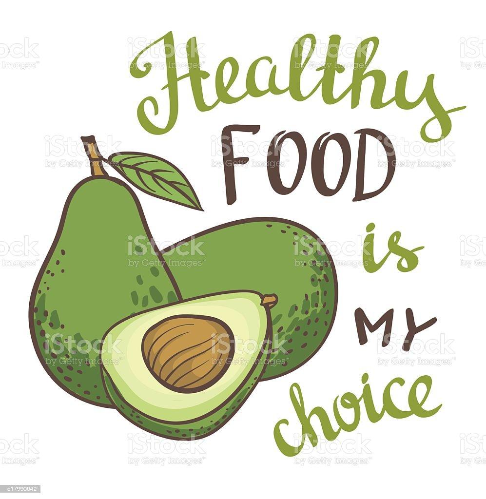 Cute Avocado Wallpapers Vector Illustration Of Avocado With Healthy Food Is My