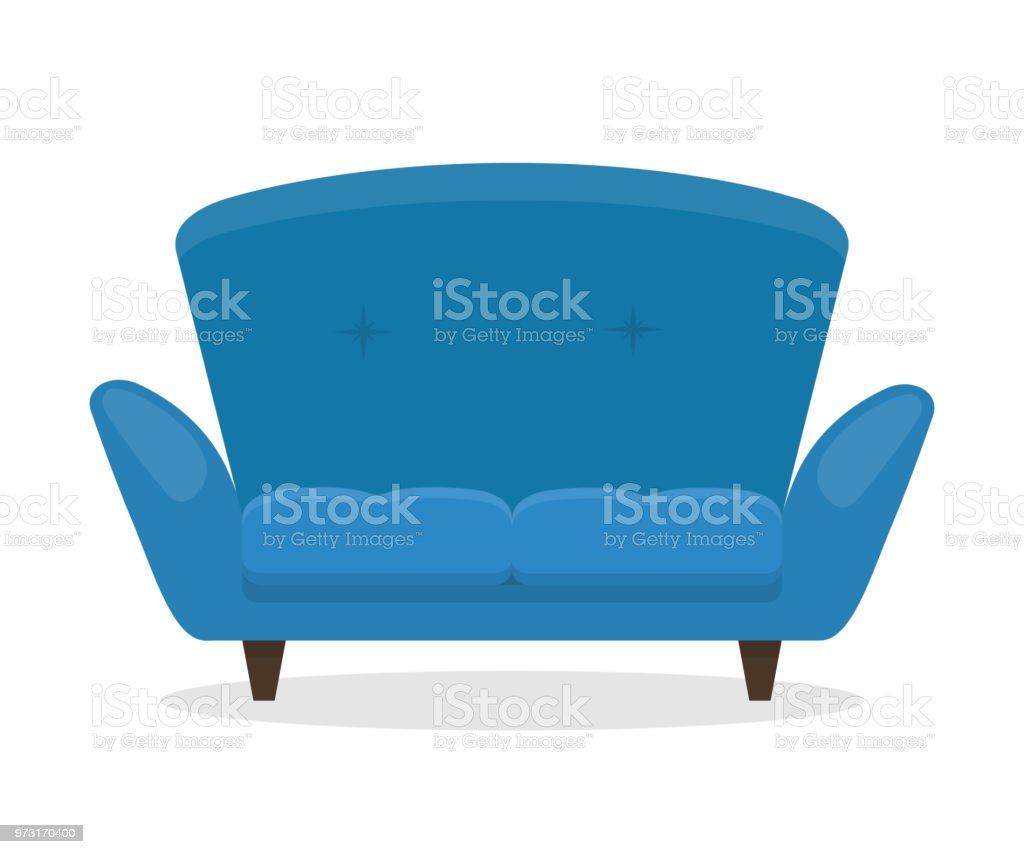 Canapé Bleu Flat Illustration Of Furniture Eps 10