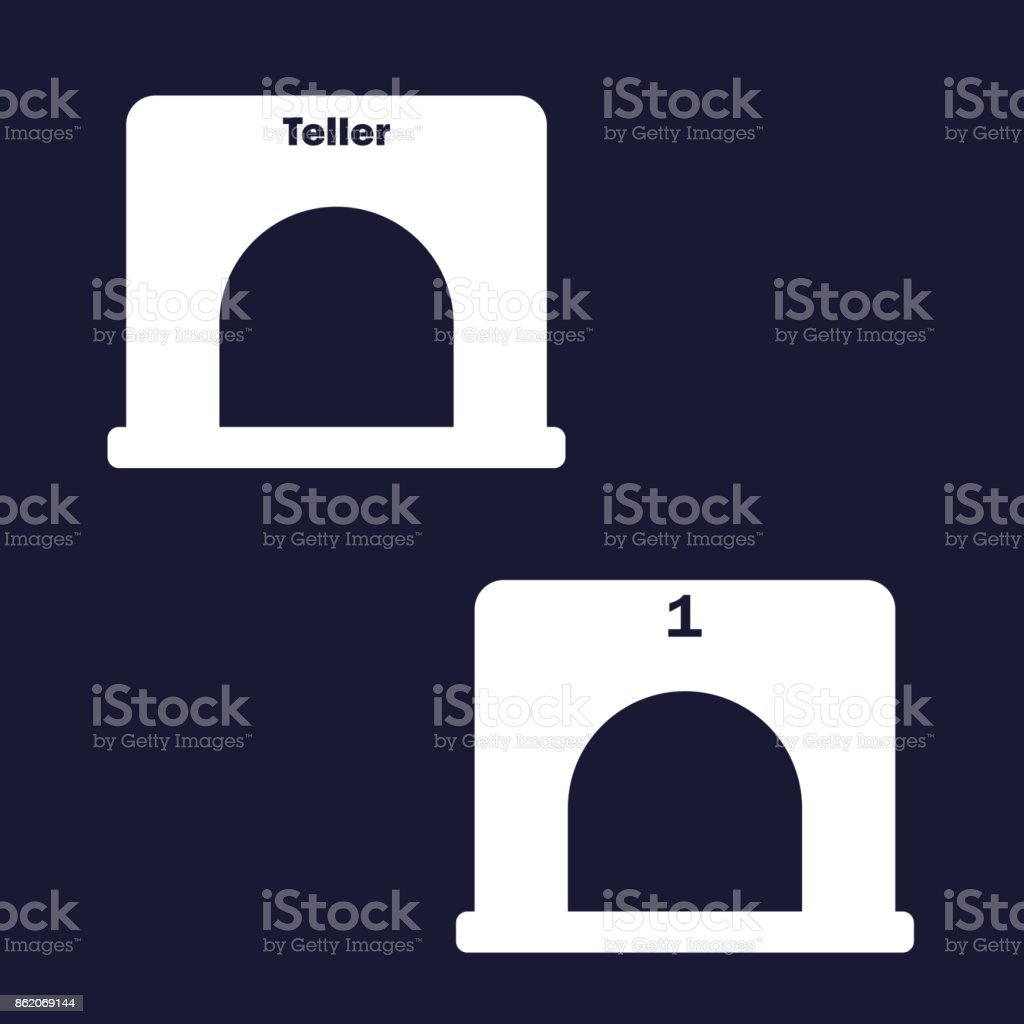 Essteller Set Vector Image Set Teller Window Vector White Icon On Dark Blue