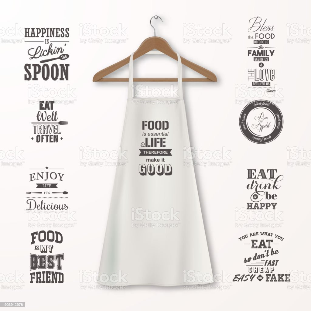 Clothes Quotes Vector Realistic White Cotton Kitchen Apron With Clothes Wooden