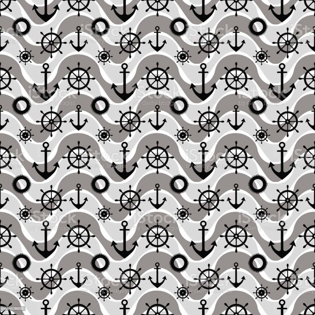 Stoff Mit Anker Vector Seamless Pattern With Anchor Steering Wheel Waves