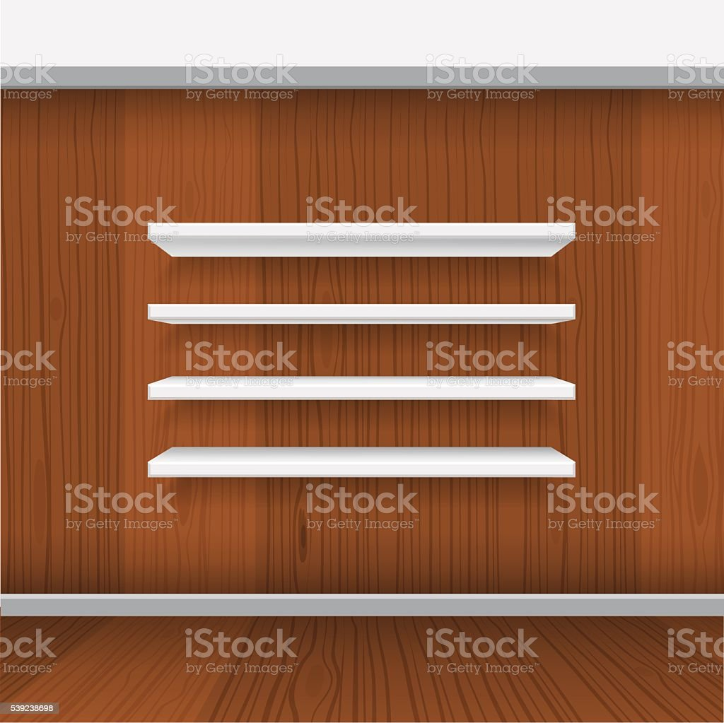 Mensole Wooden Art Vector White Empty Shelf Shelves Isolated On Wall Background Stock
