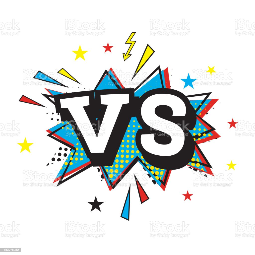 / Vs Versus Letters Or Vs Logo Comic Text In Pop Art Style Stock