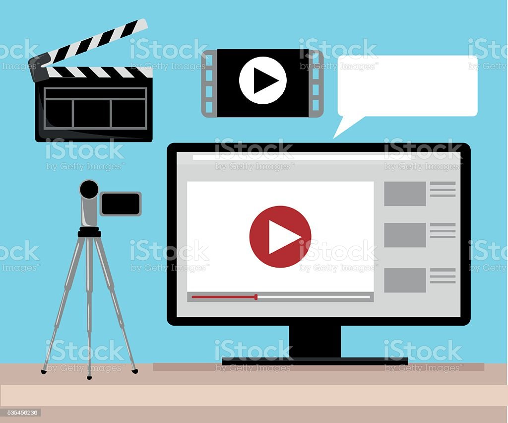 Editor Video Libre Video Production Editor Desk Workplace Web Banner Flat Vector