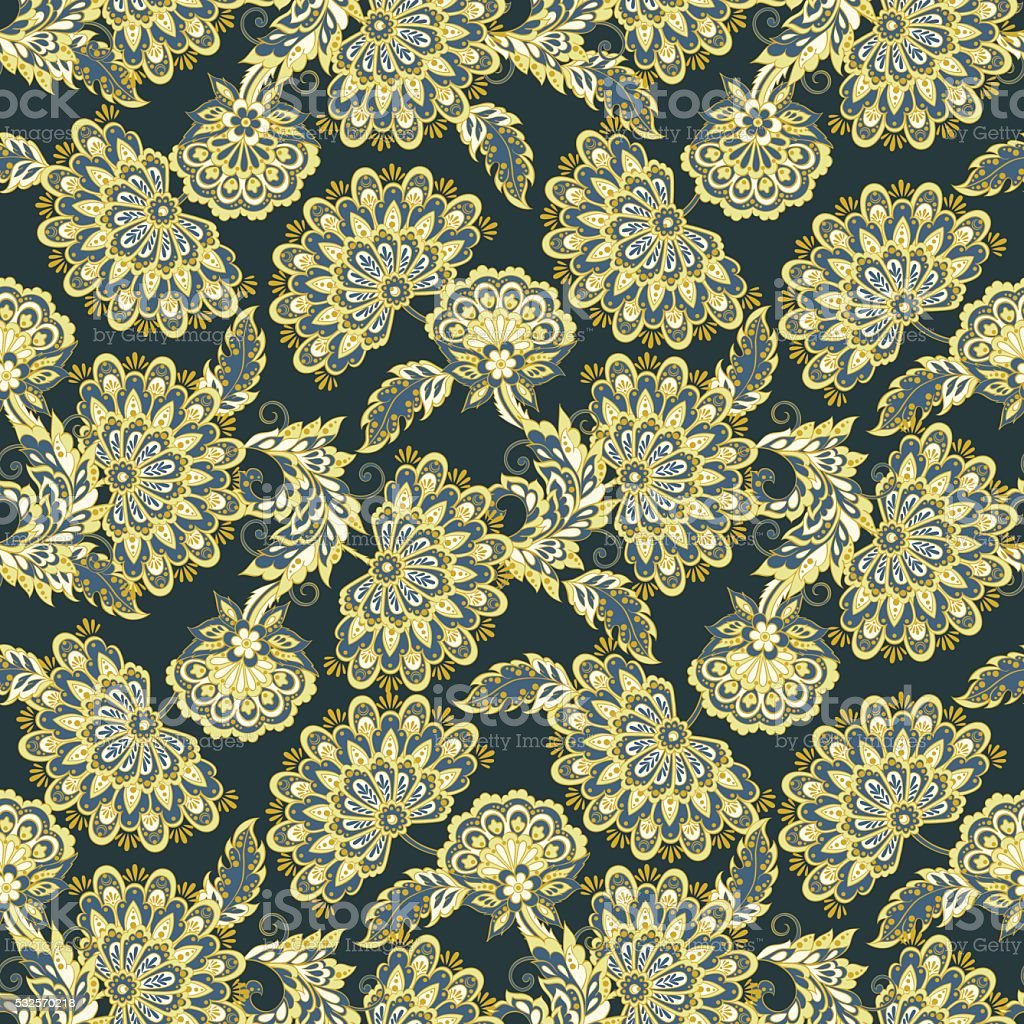 Motif Atap Vintage Flowers Seamless Pattern Ethnic Floral Vector Background