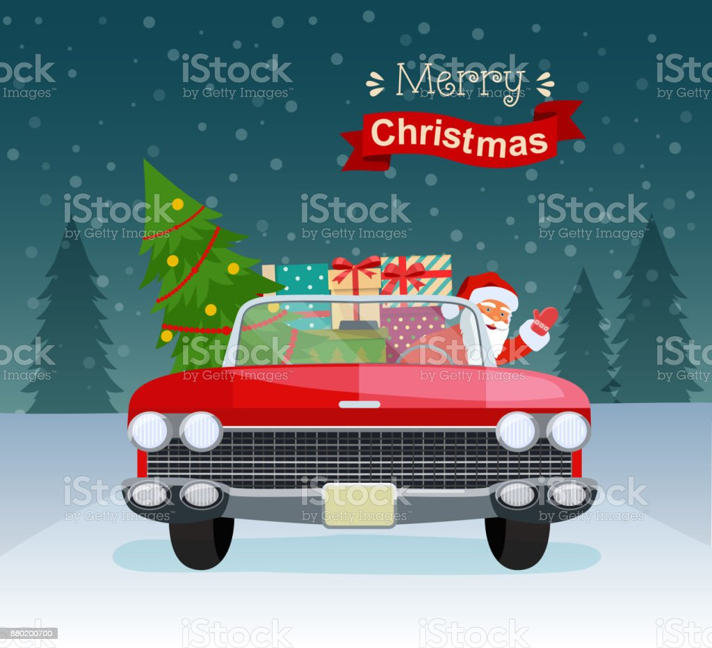Vintage Kerstboom Merry Christmas Stylized Typography Vintage Red Cabriolet With Santa