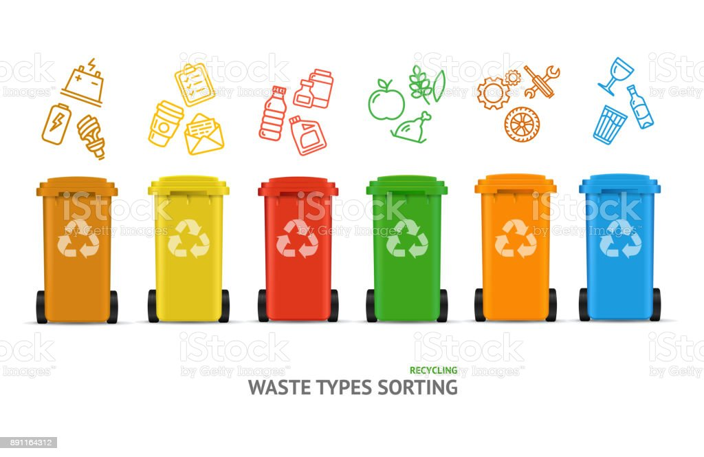 Royalty Free Waste Or Garbage Bin Separation Types Clip
