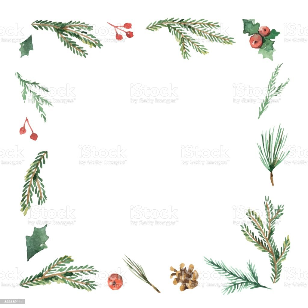 Rahmen Bilder Watercolor Christmas Frame With Fir Branches And Place For Text