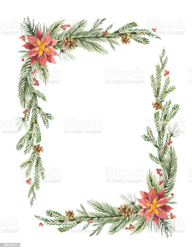 Rahmen Bilder Watercolor Vector Christmas Frame With Fir Branches And Place For