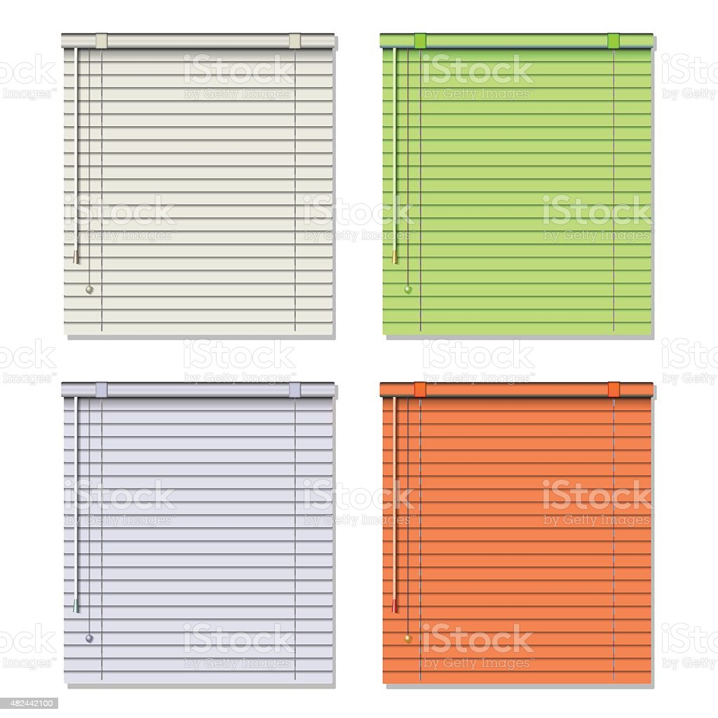 Fenster Jalousie Colored Blinds Isolated On White Vector Illustration