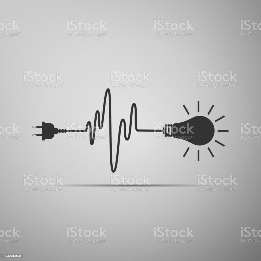 Lampe Mit Stecker Wire Plug And Light Bulb Icon Isolated On Grey Background Plug Lamp