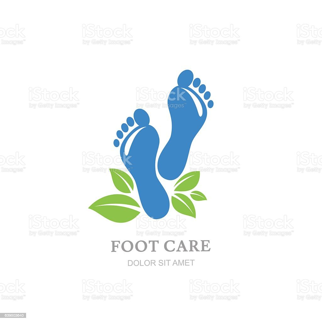 Care Design Womens Foot Care Vector Label Design Sole And Green Leaves Stok