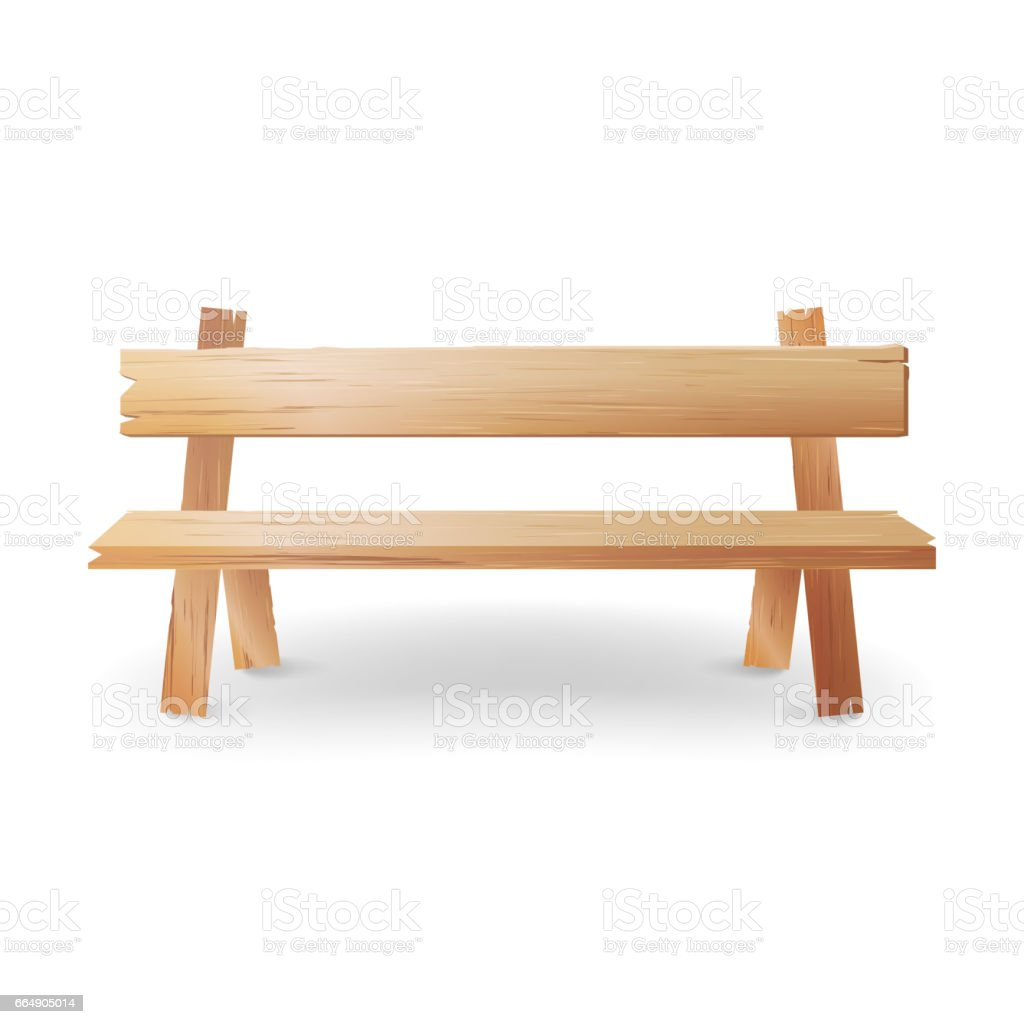 Holzbank Outdoor Wooden Bench Realistic Vector Illustration Park Brown Classic
