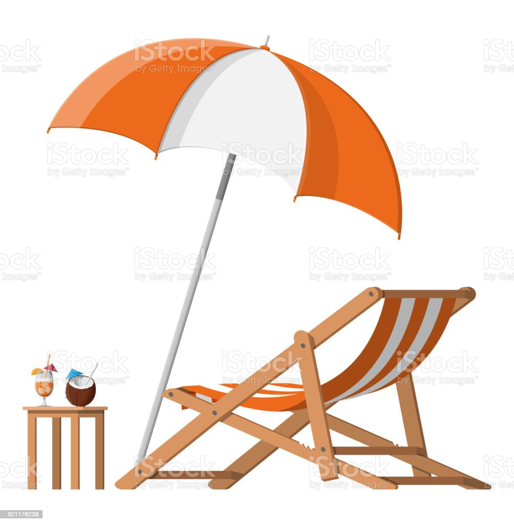 Chaise Cocktail Wooden Chaise Lounge Umbrella Cocktail Stock Vector Art More