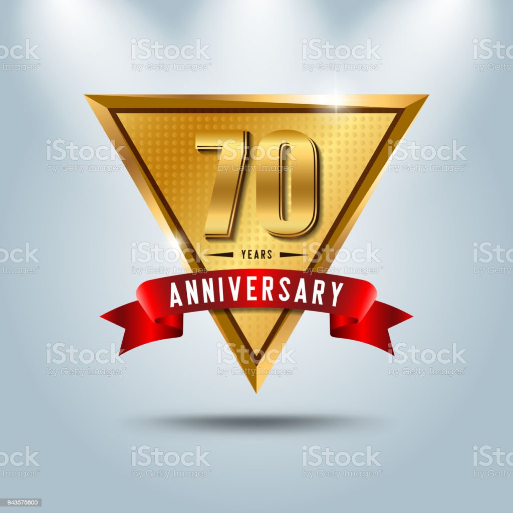 Goldene Hochzeit 70 Years Golden Anniversary Emblem With Red Ribbon Design For