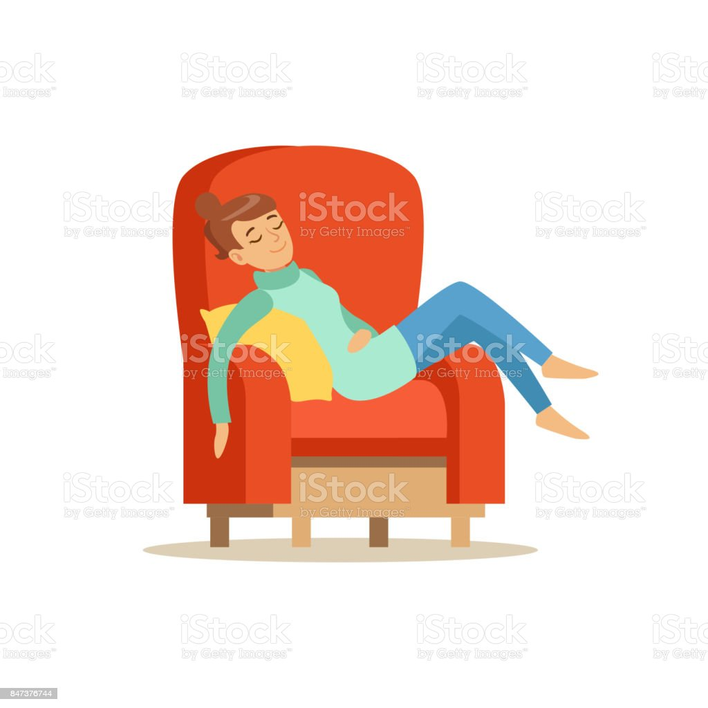 Sessel Schlafen Young Woman Sleeping On Red Armchair Relaxing Person Vector