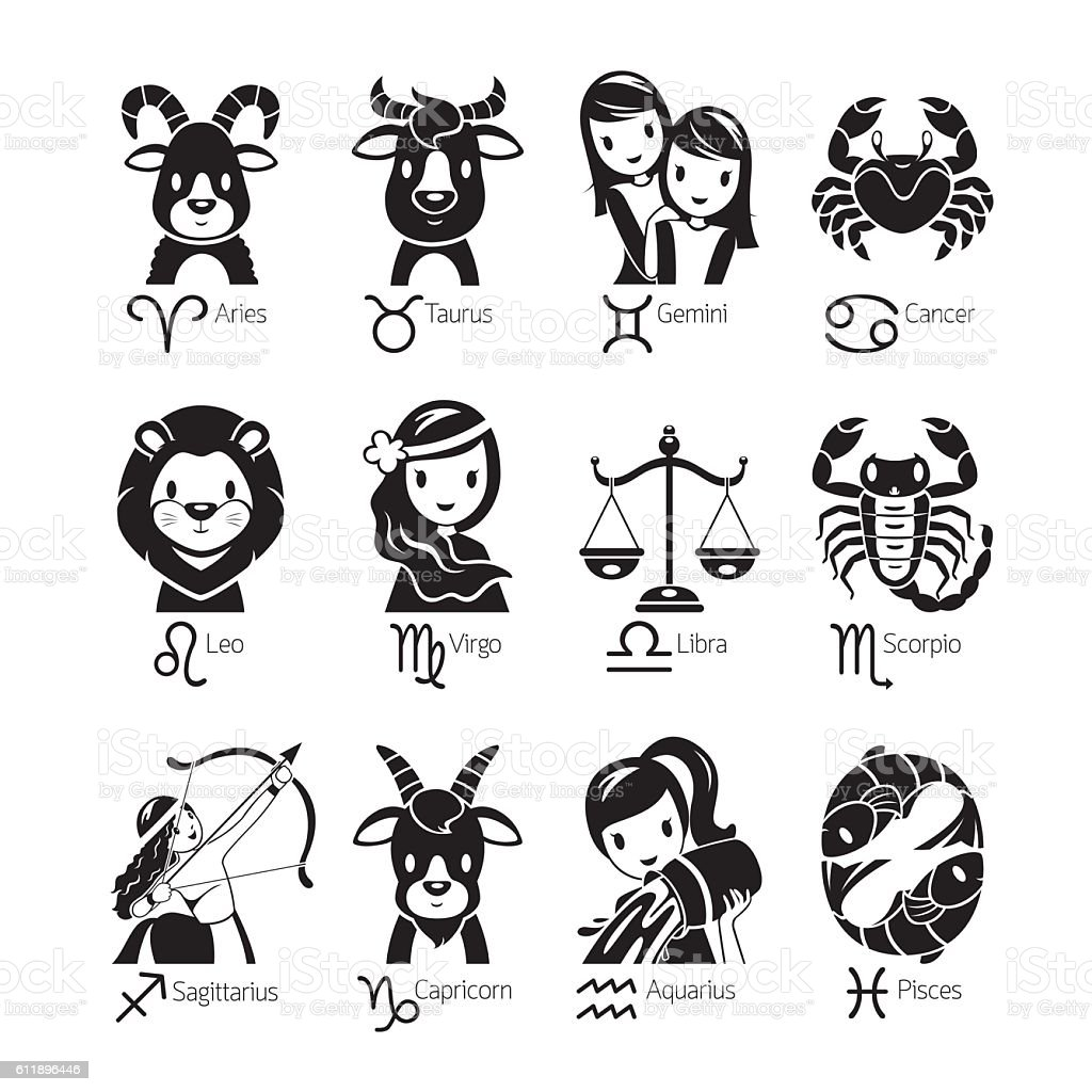 Sterrenbeeld 12 April Zodiac Signs Icons Set Monochrome Stock Vector Art And More
