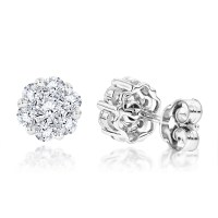 14K Gold 1 Carat Diamond Cluster Stud Earrings by Luxurman ...