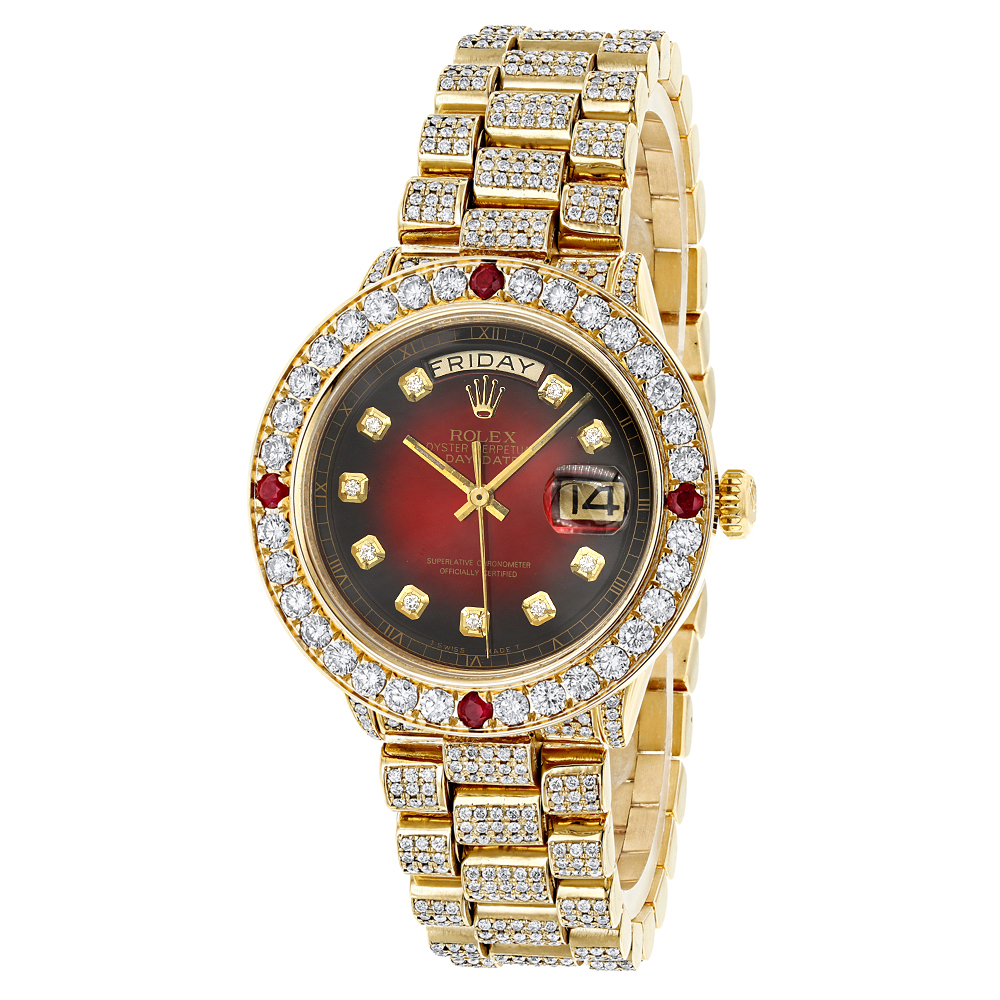 Rolex Daydate Custom Mens 18k Gold Rolex Day Date President Diamond And Ruby Watch 15ct