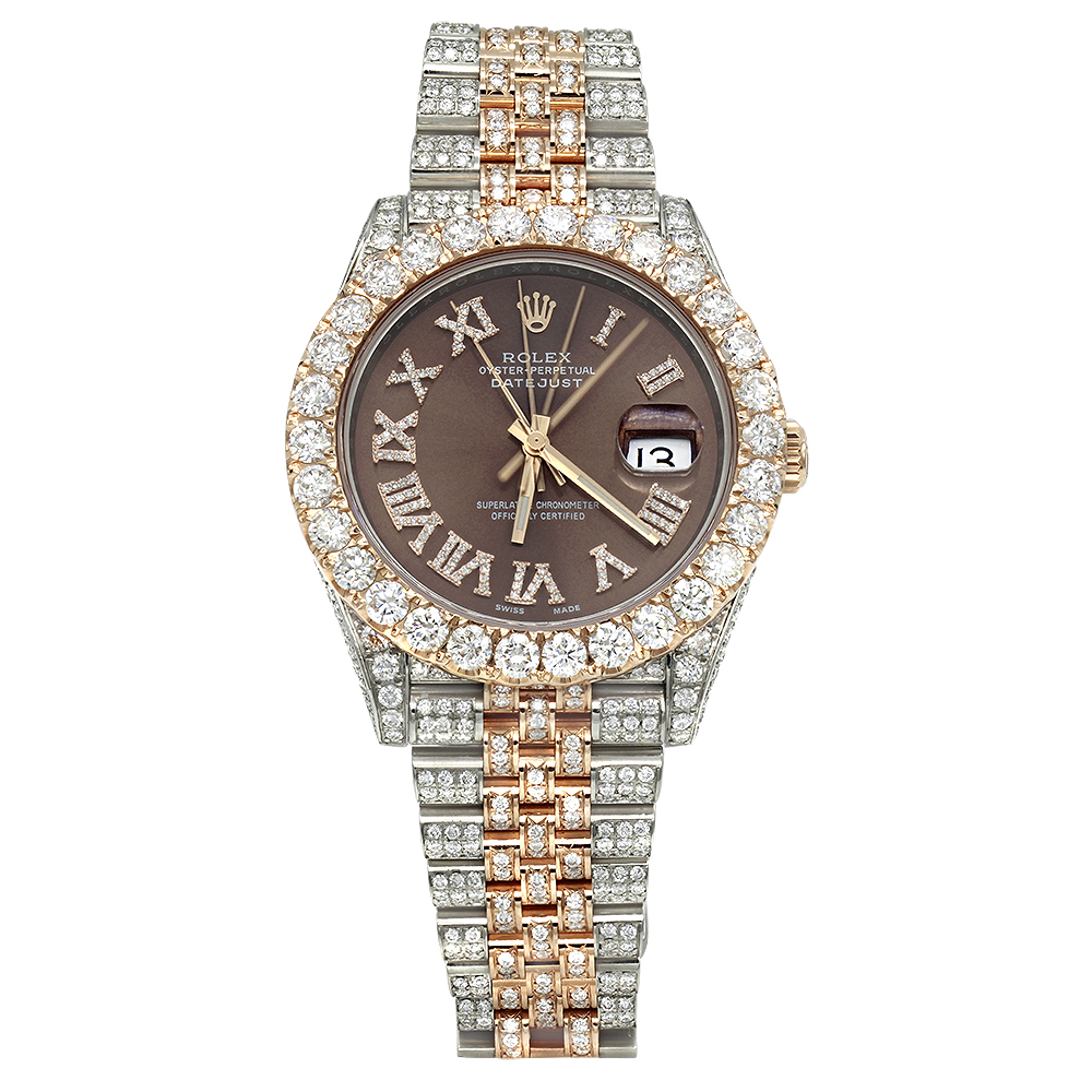 Rolex Oyster Perpetual Rose Gold Iced Out Two Tone Rolex Oyster Perpetual Datejust Mens Diamond Watch 21ct