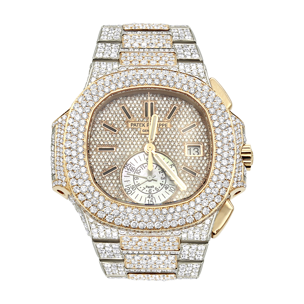 P Philippe Watch Patek Philippe Nautilus Iced Out Diamond Watch For Men 35ct 18k Rose Gold