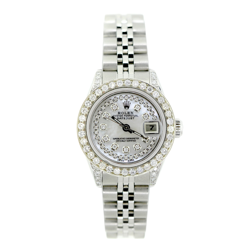 Stainless Rolex Rolex Datejust Iced Out Diamond Watch For Women 2 2ct Stainless Steel 26mm