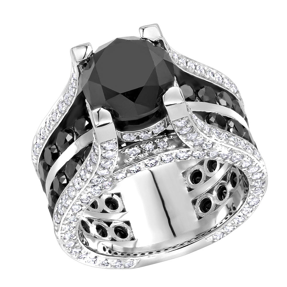Black Diamond Unique 14k Gold Large White And Black Diamond Ring 12ct By Luxurman