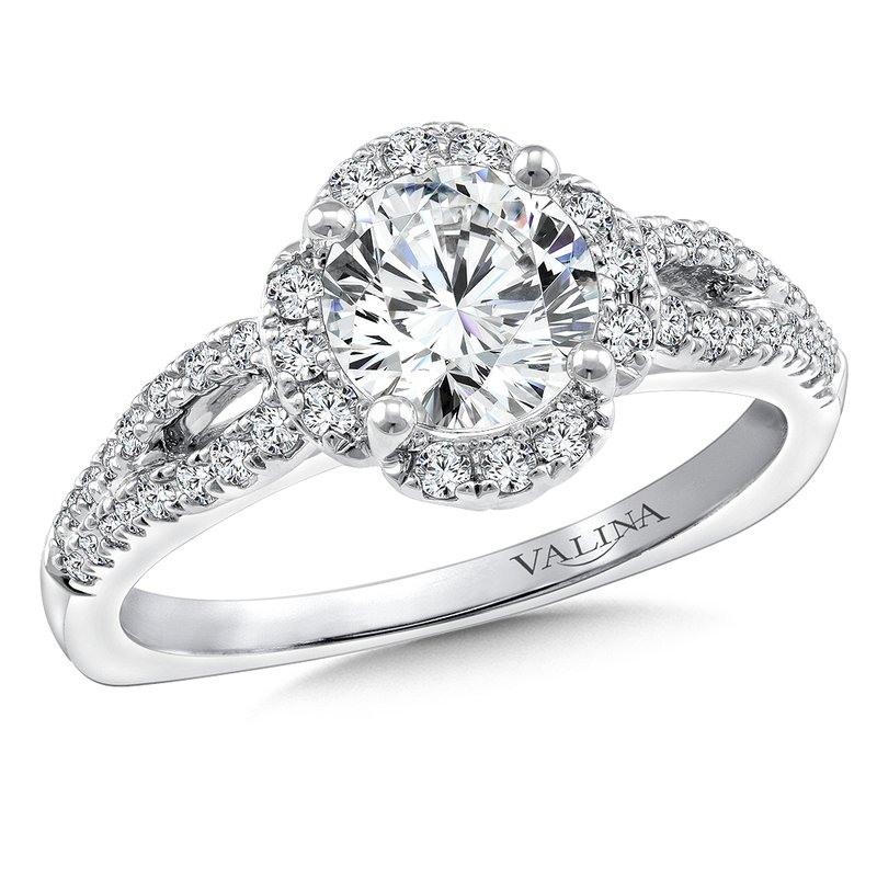 JF Options Jewelers Valina Halo Engagement Ring Mounting in 14K