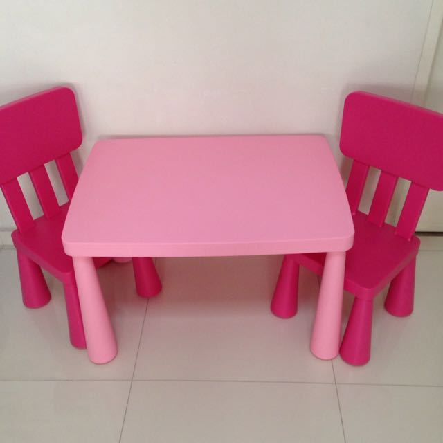 Ikea Mammut Kids Table Chairs Pink Furniture On Carousell