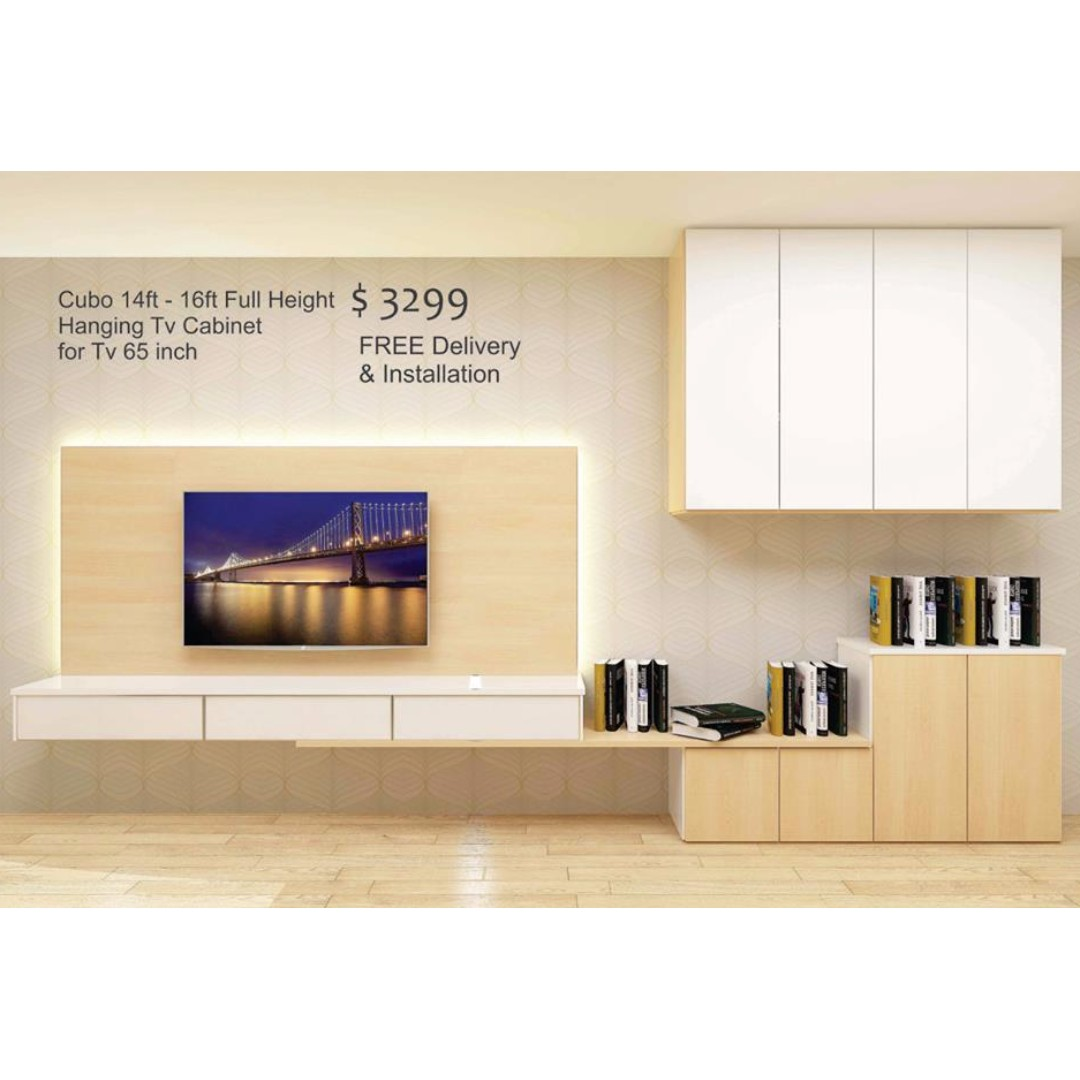 Extendable Hanging Tv Cabinet with Full Height Storage