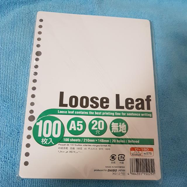 Daiso Loose Leaf A5 Paper Plain, Books  Stationery, Stationery on