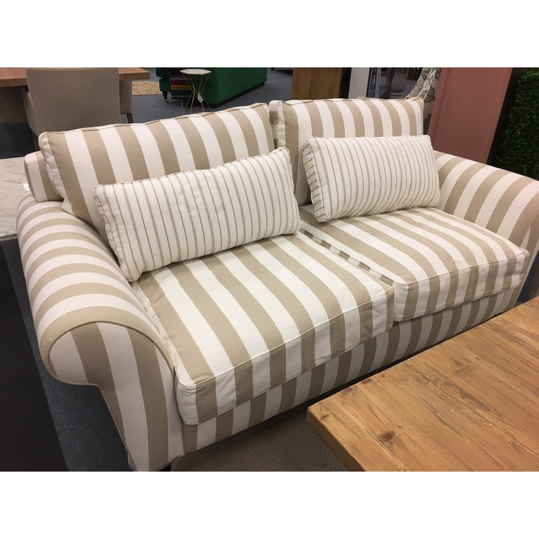 Domayne Furniture Fabric Lounges 2 5 Seater Sofa Couch Issie Round Arm Fabric Sofa With