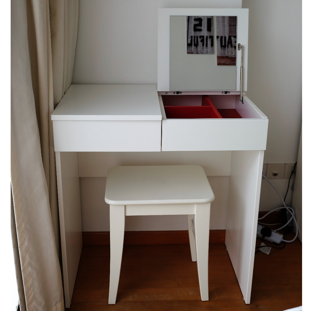 Ikea Dressing Table Ikea Brimnes White Dressing Table Complete With An Ingolf White Stool