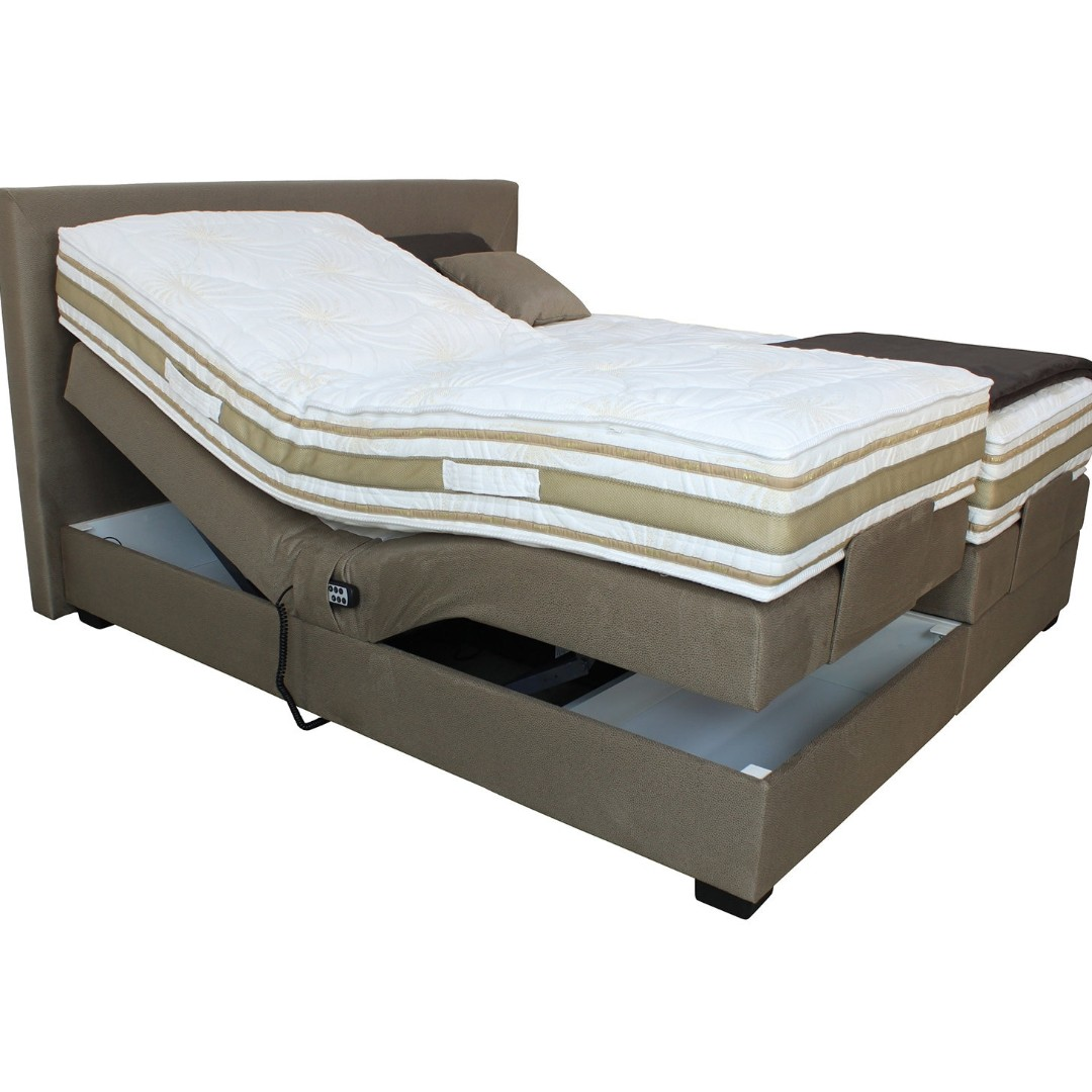 Boxspring 180x200 Boxspring Bed Dark Beige With Motor 180x200 Cm