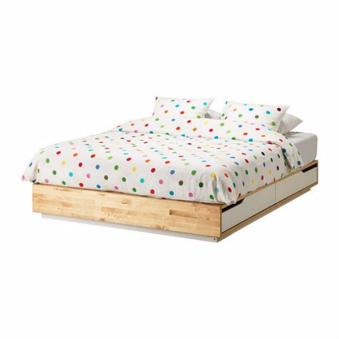 Ikea Full Size Bed Frame Ikea Mandal Full Double Size Bed Frame White Drawers And Mattress