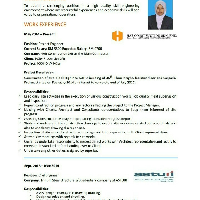 Female project engineer(construction)looking for job, Bulletin