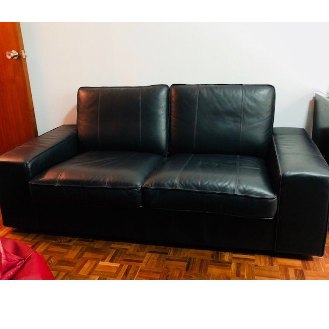 Kivik Sofa Leather Black Leather Ikea Kivik Sofa 2 Seater Good Condition