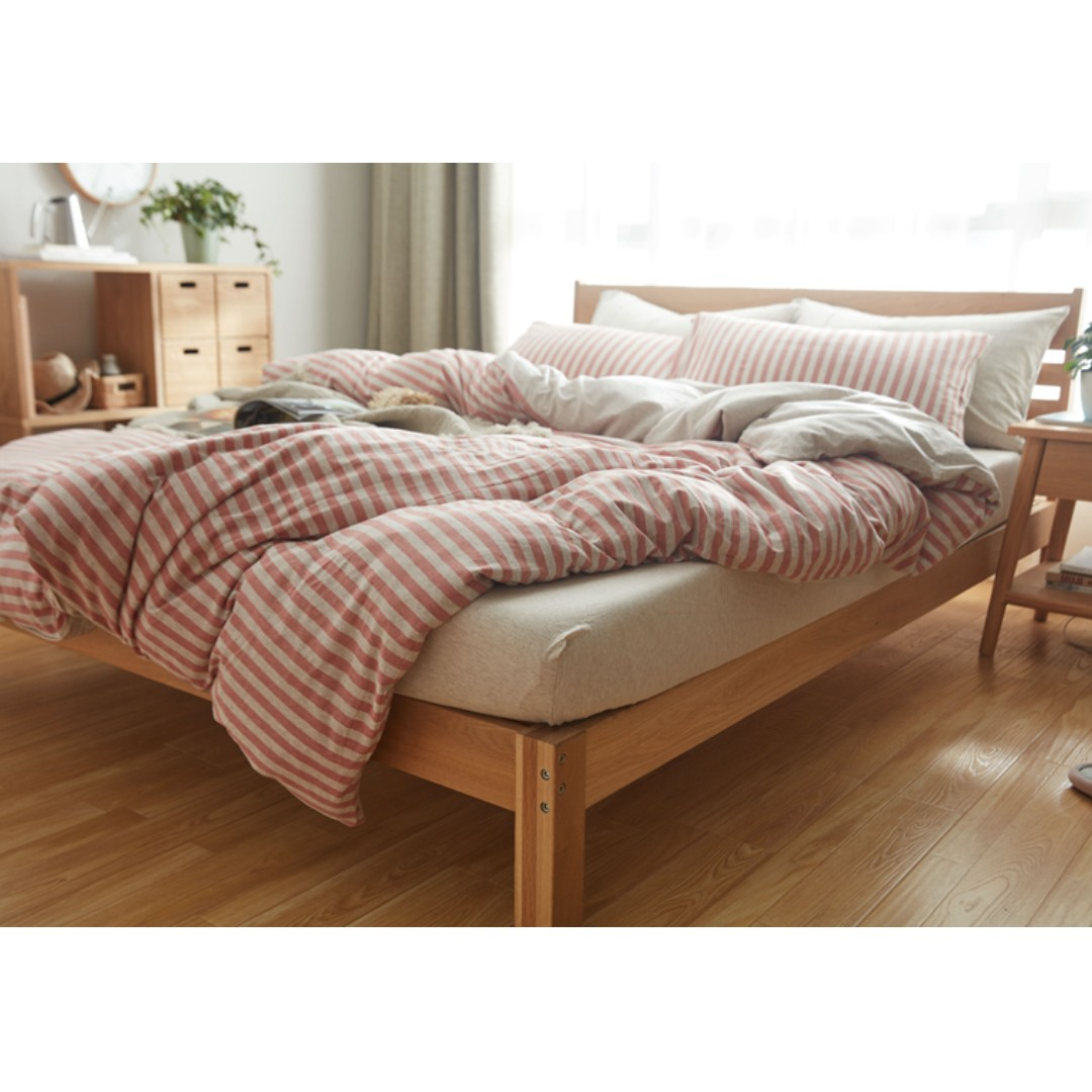 Muji Bed Sheets Muji Style Striped Bedding Set Ss Q K
