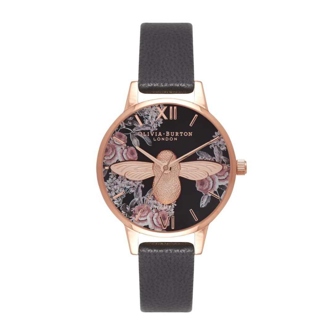 Leather Strap Rose Gold Watch Authentic Olivia Burton Botanical 3d Bee Black Leather Strap Rose Gold Watch