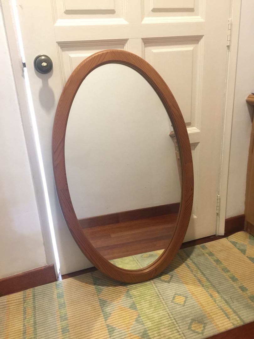 Oval Mirror Wood Frame Oval Mirror With Wooden Frame 100cm X 60cm