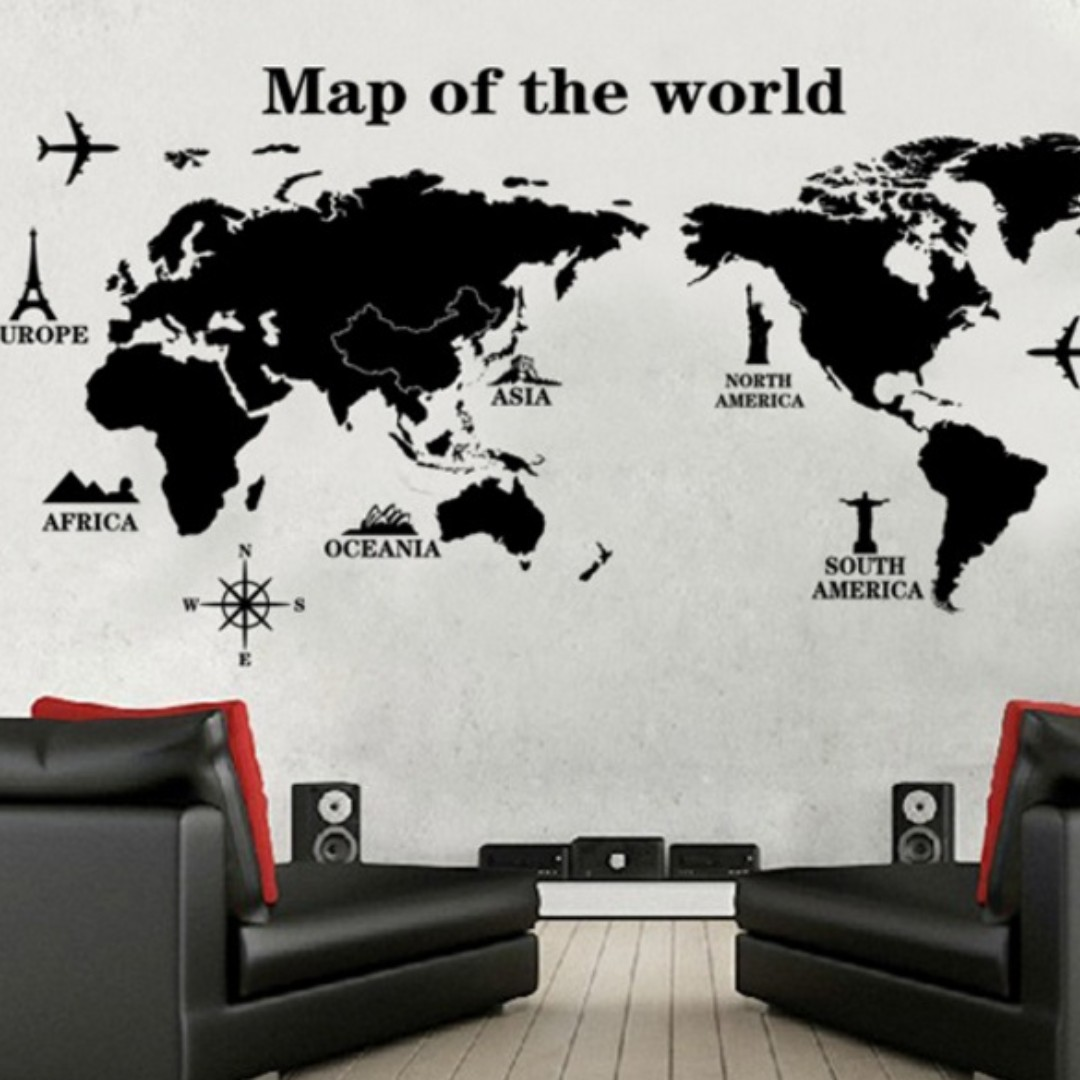 World Map Decorations Black World Map Vintage Rustic Minimalist Diy Wall Home Decor Decorations Decal Vinyl Mural Sticker